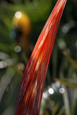 abstract orange glass art piece