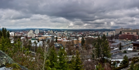 spokane washington skyline panorama on a cloudy day