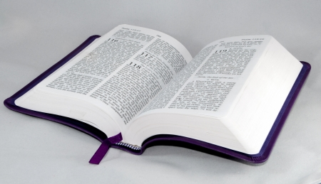 open Bible to psalm 118 isolated on a white background. Stock Photo