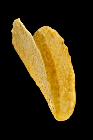 taco crunchy shell isolated on black