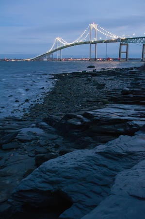 ri: Sunset with Claiborne Pell Bridge in Background Stock Photo