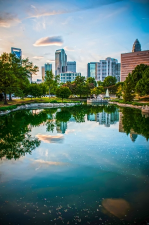 Skyline of Uptown Charlotte, North Carolina  Stock Photo