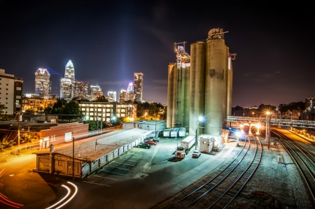 Charlotte City Skyline and architecture at night and milling factory