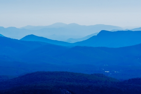 Blue Ridge Parkway Scenic Mountains Overlooking beautiful landscapes Stock Photo