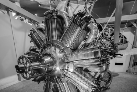 Radial engine of old airplane in a shop