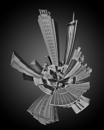 Atlanta Skyline Miniplanetenart Galaxie 360 ??Panorama Lizenzfreie Bilder