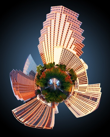 Austin, Texas Downtown Skyline mini planet photo