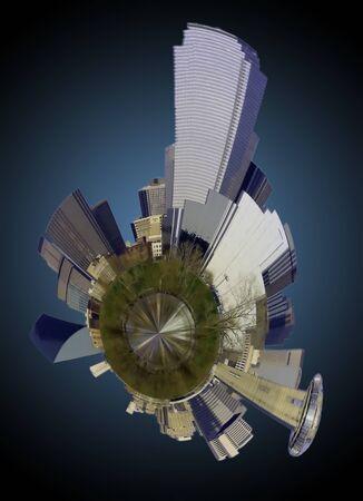 Houston Skyline mini planet in Texas photo