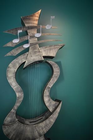 musical instrument  art statue inside a music school