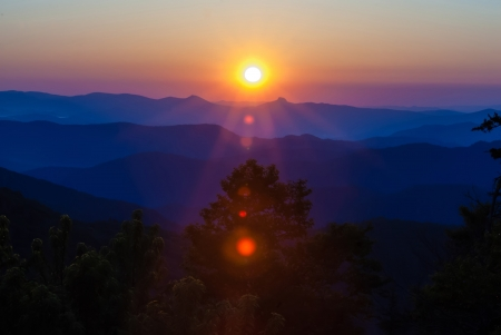 Blue Ridge Parkway Scenic Landschaft Appalachen Ridges Sonnenaufgang Schichten �ber Great Smoky Mountains Lizenzfreie Bilder