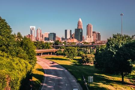 Charlotte, North Caroline city buildings skyline in bright daylight