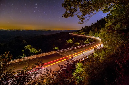 linn: Blue Ridge Parkway Linn Cove Viaduct North Carolina  at night with stars