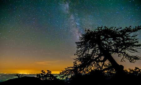 Milky way over the city lights and mountains on blue ridge parkway