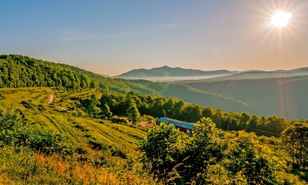 Blue Ridge Parkway Scenic Landscape Appalachian Mountains Ridges Sunrise Layers over Great Smoky Mountains photo