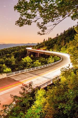wnc: Blue Ridge Parkway Linn Cove Viaduct North Carolina  at night with stars