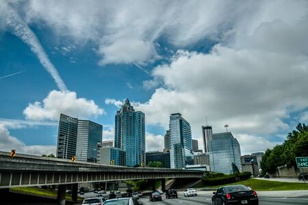atlanta city skyline and highway traffic Editorial