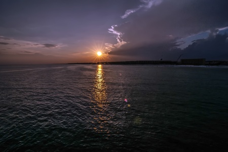 destin: sunset at gulf of mexico from okaloosa island pier Stock Photo