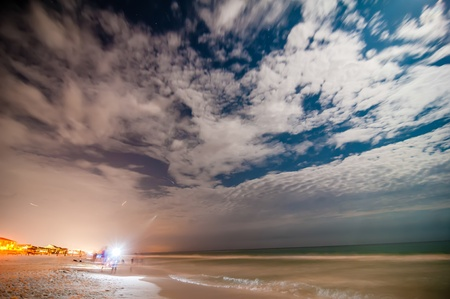 brightness: night scenes at the florida beach with super moon brightness