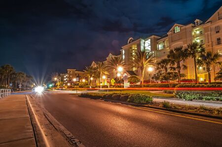 artdeco: street scene near hotels in destin florida at night