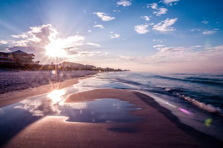 sunrise over sunshine state florida beach 免版税图像