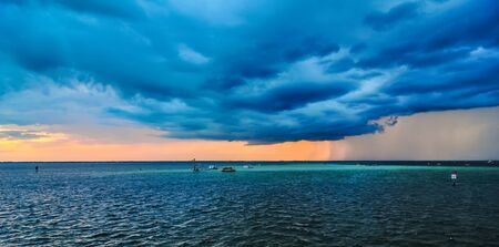 destin: stormy weather over florida with thunder and lightning Stock Photo