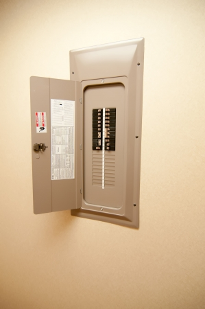 indoor electrical power breaker panel Stock Photo