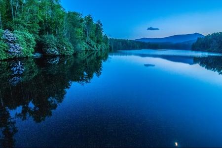 wnc: North Carolina Grandfather Mountain Julian Price Memorial Park Lake Blue Hour Reflection Stock Photo