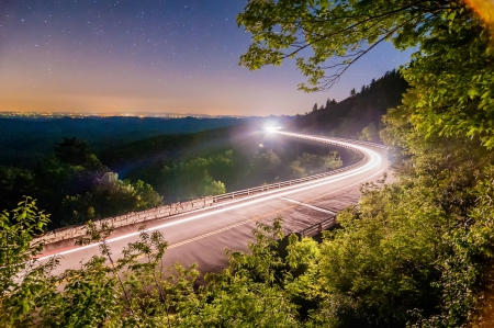linn: linn cove viaduct in blue ridge mountains at night