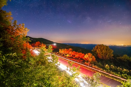 linn cove viaduct in blue ridge mountains at night photo