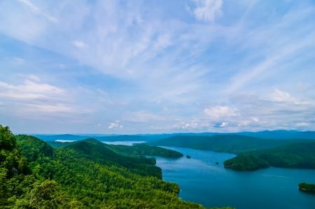 aerial views over South Carolina Lake Jocassee Gorges Upstate Mountains photo
