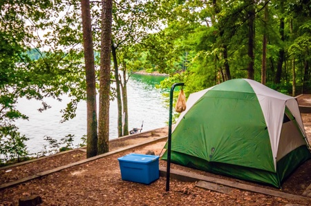 CAMPING TENT BY THE LAKE photo