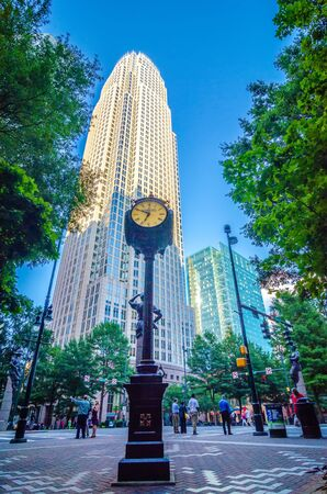 skyline and city streets of charlotte north carolina usa