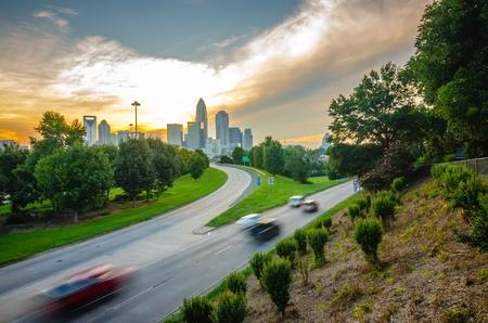 sun setting over charlotte north carolina a major metropolitan city Stock Photo