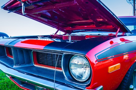 compartment: under the hood of a classic muscle car engine compartment