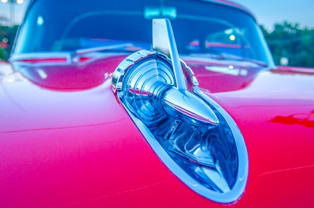 classic vintage car details at a car show photo