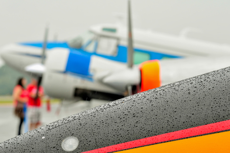 abstract view of airshow during a rain storm photo
