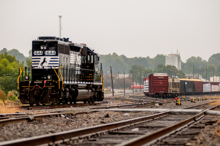 freight train: parked black freight train Editorial