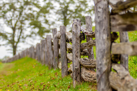 split rail: Rustic home made split rail fence in the mountains of North Carolina and virginia Stock Photo