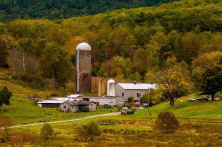 farm view with mountains landscape