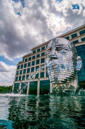 industrial park: Metalmorphosis Mirror Fountain by, David Černý in charlotte, nc Editorial