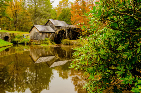 Virginias Mabry Mill on the Blue Ridge Parkway in the Autumn season photo