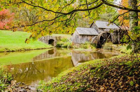 waterwheel: Virginias Mabry Mill on the Blue Ridge Parkway in the Autumn season