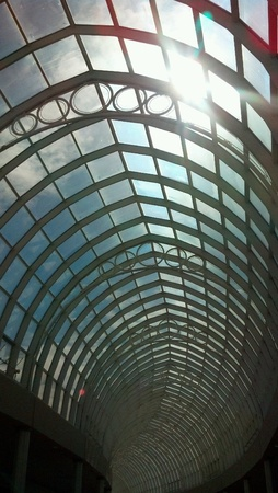long glass arc skylight