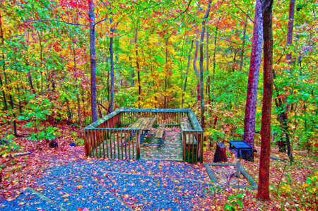 private access: picnic area in the park in autumn