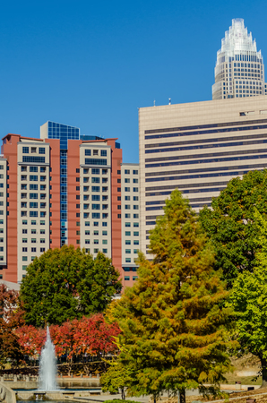 ag: charlotte city skyline autumn season with blue sky Stock Photo