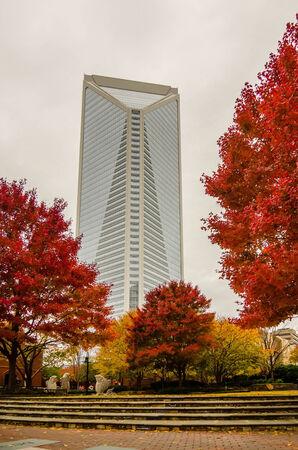 ag: charlotte city skyline autumn season with cloudy sky