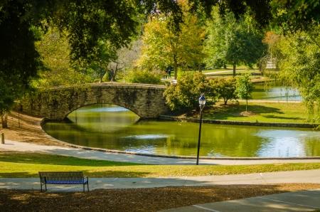 flagstone walking bridge at Freedom Park in Charlotte, North Carolina Stock Photo
