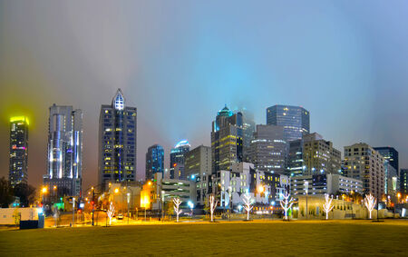 view of charlotte skyline at night near romare bearden park photo