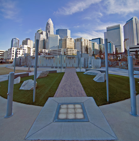 december 27, 2013, charlotte, nc - view of charlotte skyline at night near romare bearden park photo