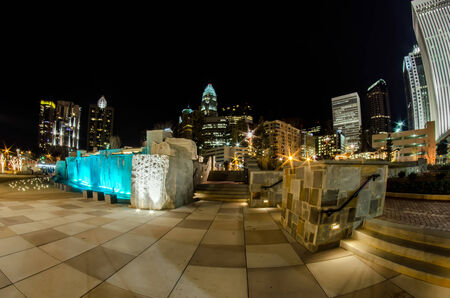nc: december 27, 2014, charlotte, nc, usa - charlotte skyline near romare bearden park Stock Photo
